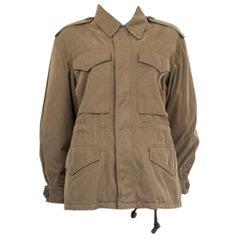 GUCCI army green PRINTED COTTON CANVAS & SHEARLING PARKA Jacket 40 S