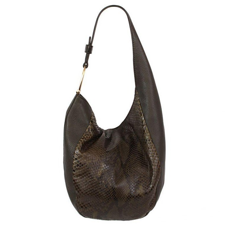 Black GUCCI army green PYTHON GREENWICH Hobo Shoulder Bag For Sale
