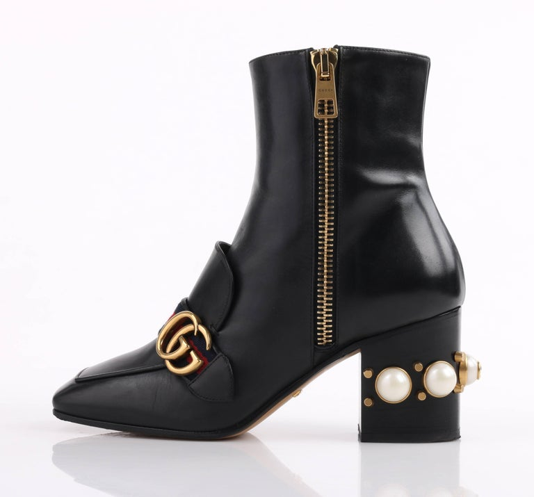 Gucci A W 2016 Quot Peyton Quot Black Leather Pearl Heel Gg Buckle