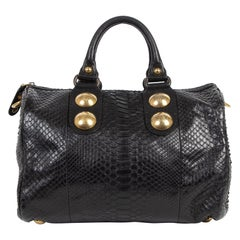 Gucci Babouska Black Python Skin Leather Boston Bag