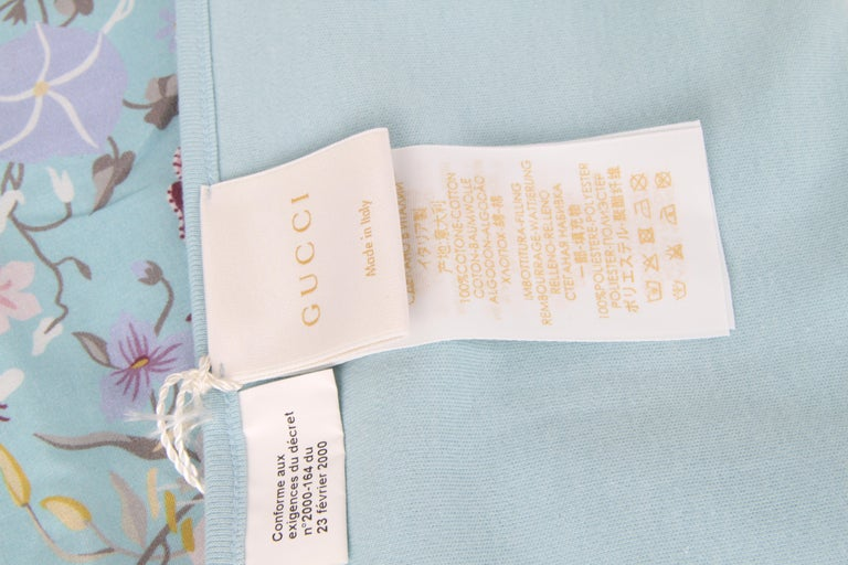 Gucci Baby Blue Floral Blanket In New Condition For Sale In Baarn, NL