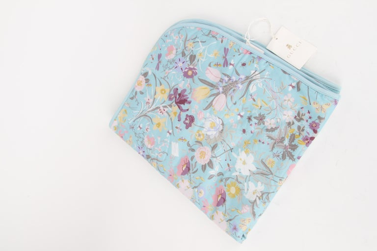 Women's or Men's Gucci Baby Blue Floral Blanket For Sale