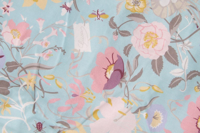 Gucci Baby Blue Floral Blanket For Sale 2