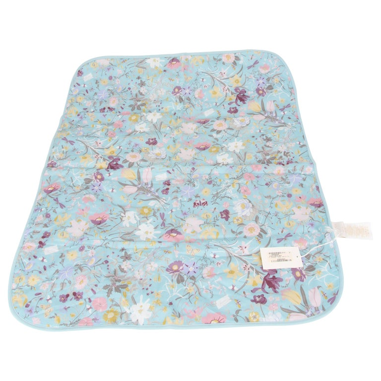 Gucci Baby Blue Floral Blanket For Sale