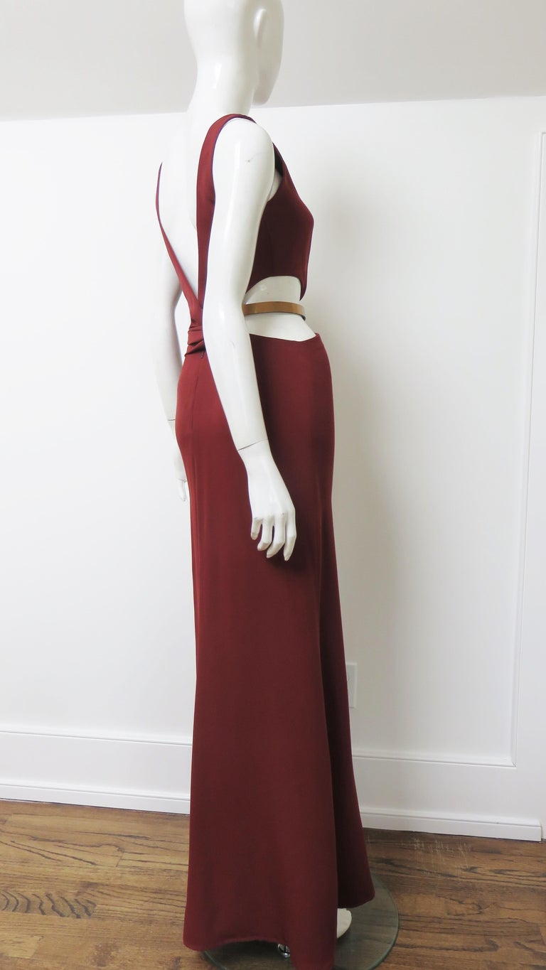 Gucci Backless Dress with Belted Waist Cut out  For Sale 5