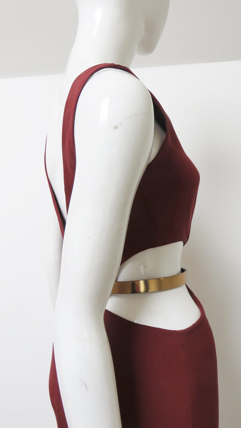 Gucci Backless Dress with Belted Waist Cut out  For Sale 6