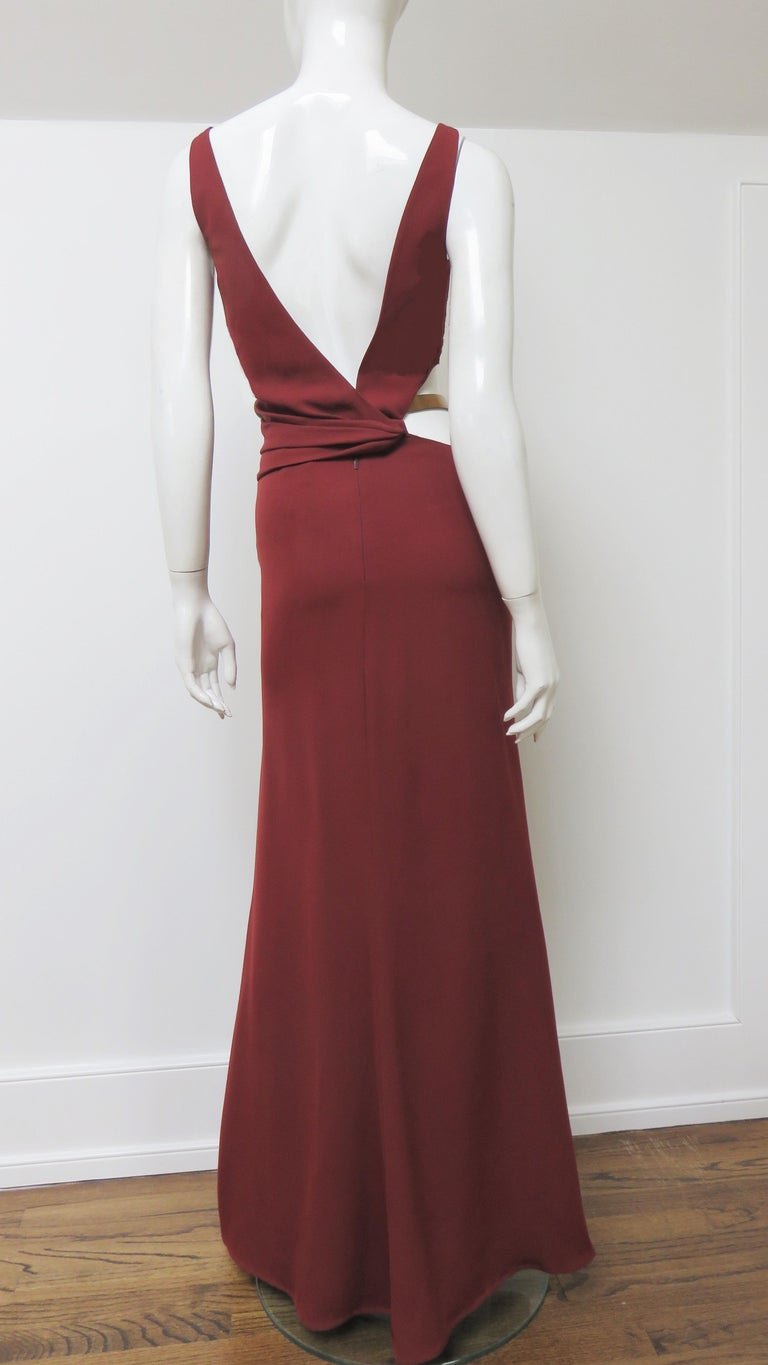 Gucci Backless Dress with Belted Waist Cut out  For Sale 9