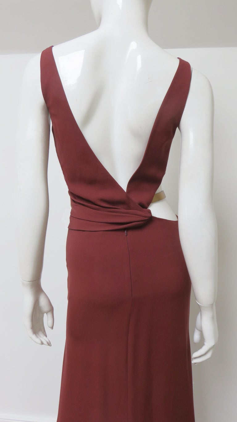 Gucci Backless Dress with Belted Waist Cut out  For Sale 10
