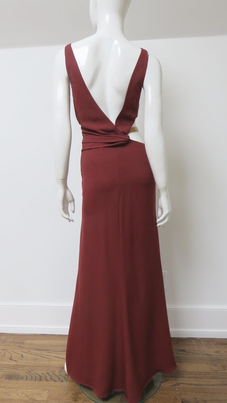 Gucci Backless Dress with Belted Waist Cut out  For Sale 12