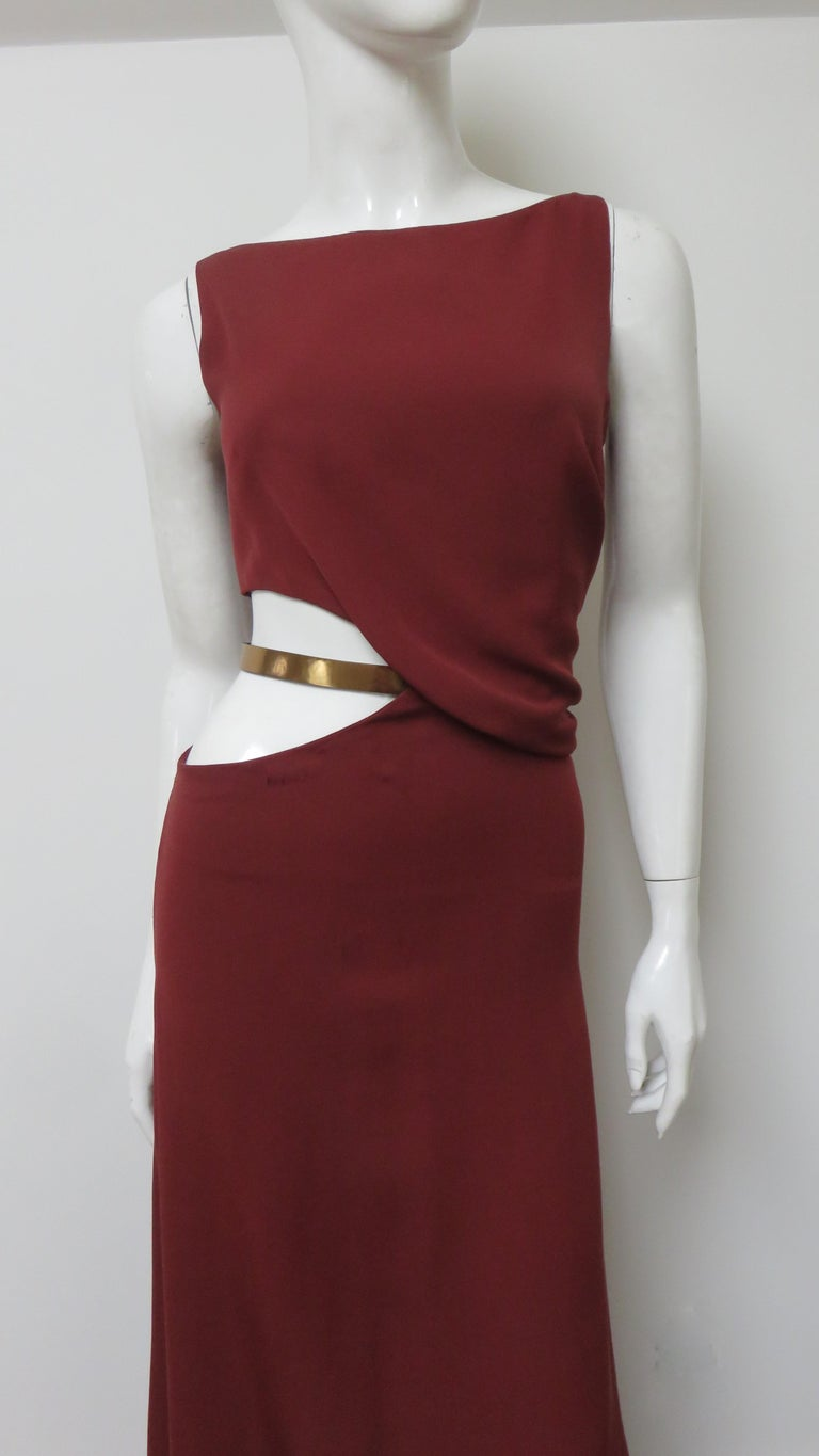 Brown Gucci Backless Dress with Belted Waist Cut out  For Sale