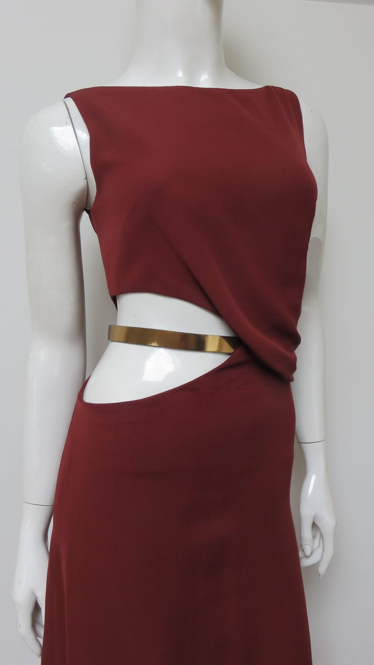Gucci Backless Dress with Belted Waist Cut out  In Excellent Condition For Sale In Water Mill, NY