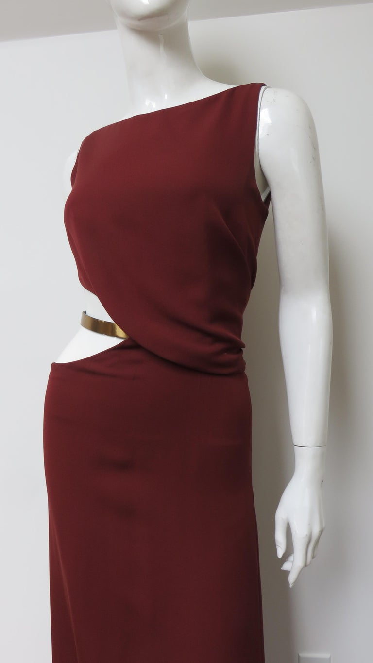 Women's Gucci Backless Dress with Belted Waist Cut out  For Sale