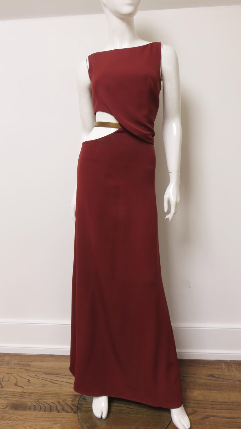 Gucci Backless Dress with Belted Waist Cut out  For Sale 3