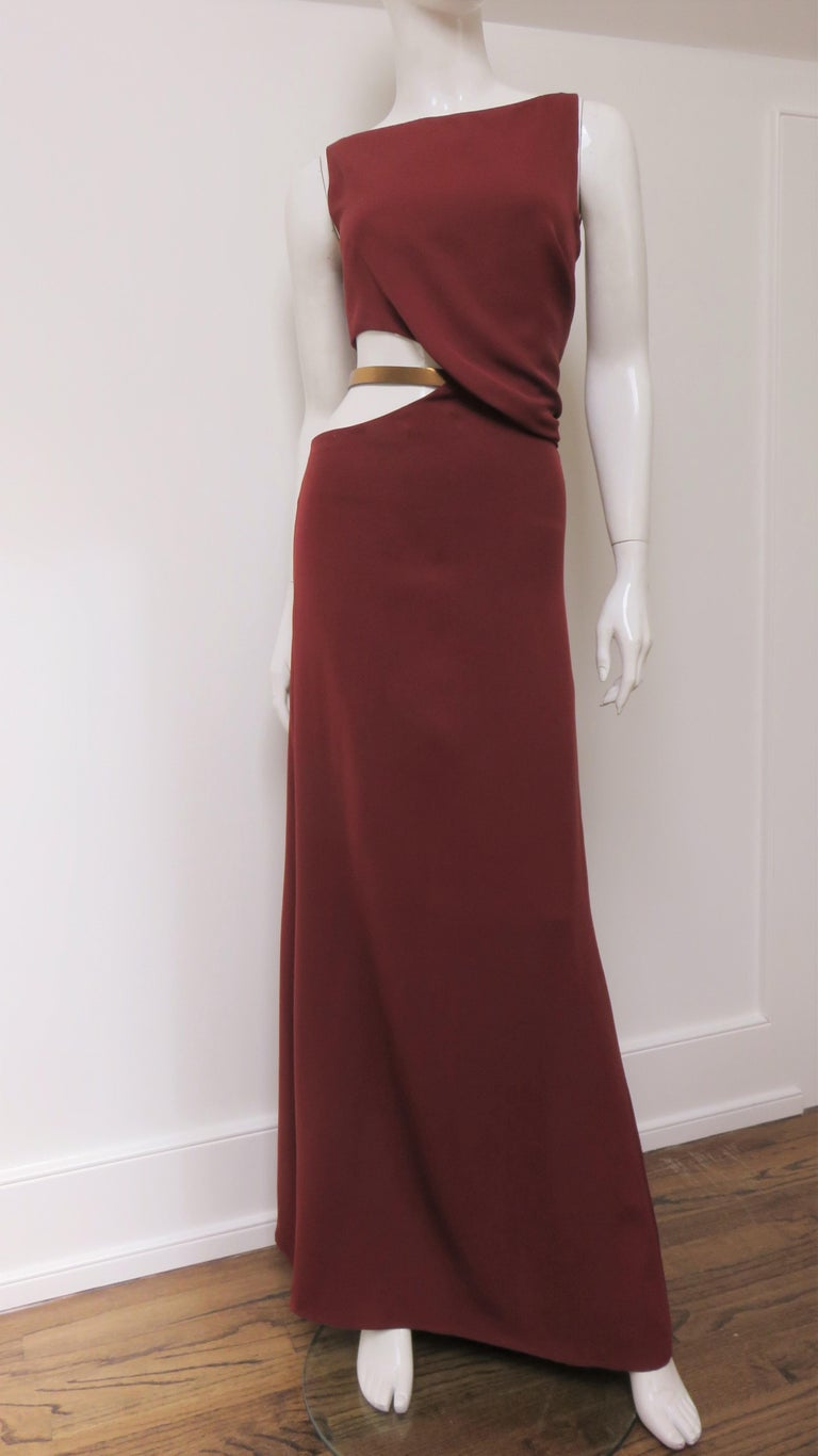 Gucci Backless Dress with Belted Waist Cut out  For Sale 4