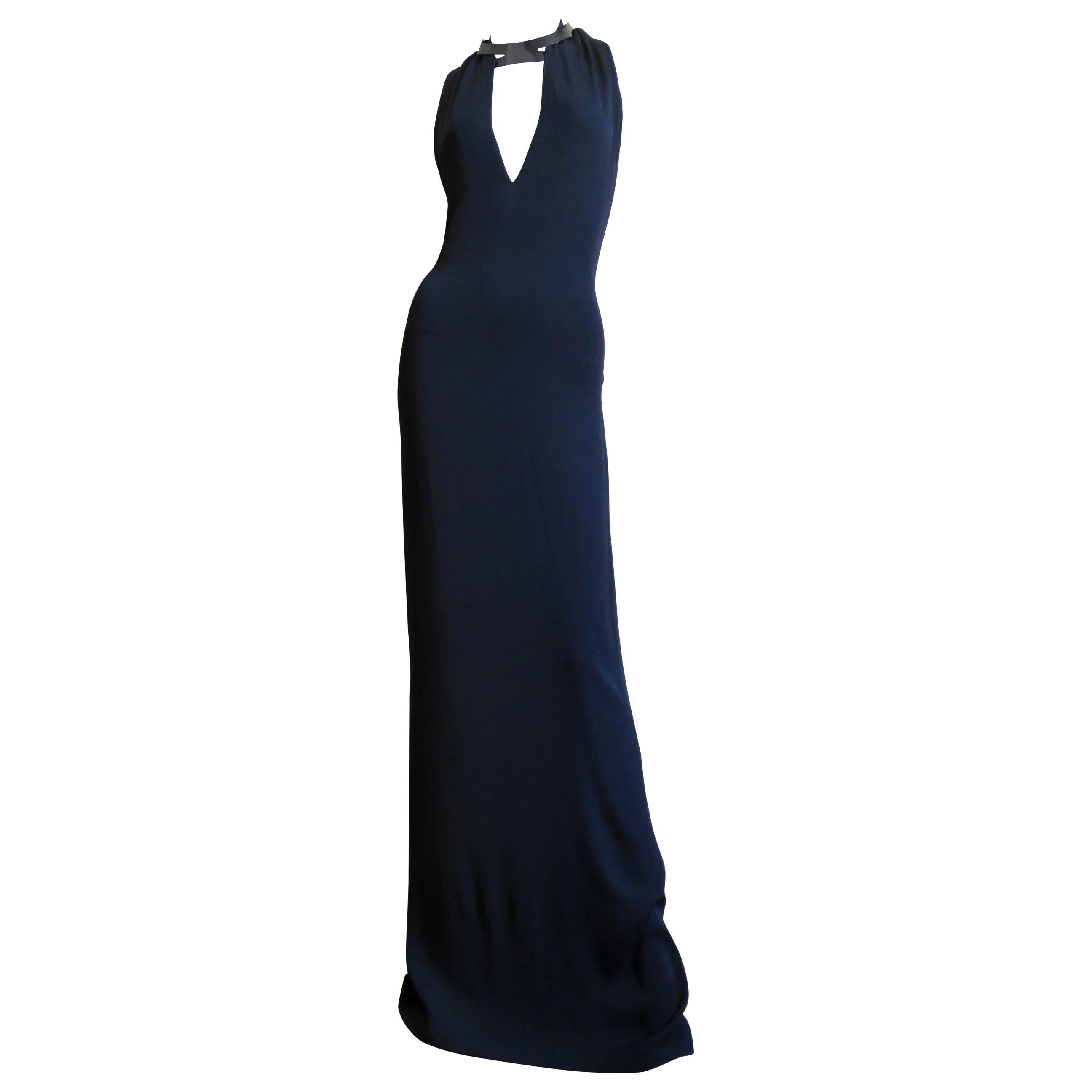 Gucci Backless Silk Halter Gown with Hardware Collar