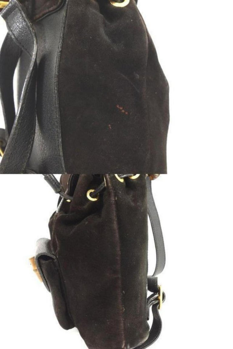 847b8d5b93a9 Gucci Bamboo 232896 Black Suede Leather Backpack For Sale at 1stdibs