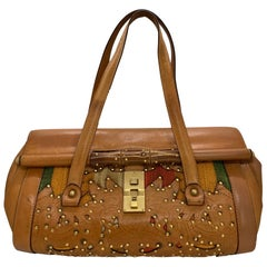 Gucci Bamboo Bullet Leather Studded Limited Edition Tri-Color Handbag.