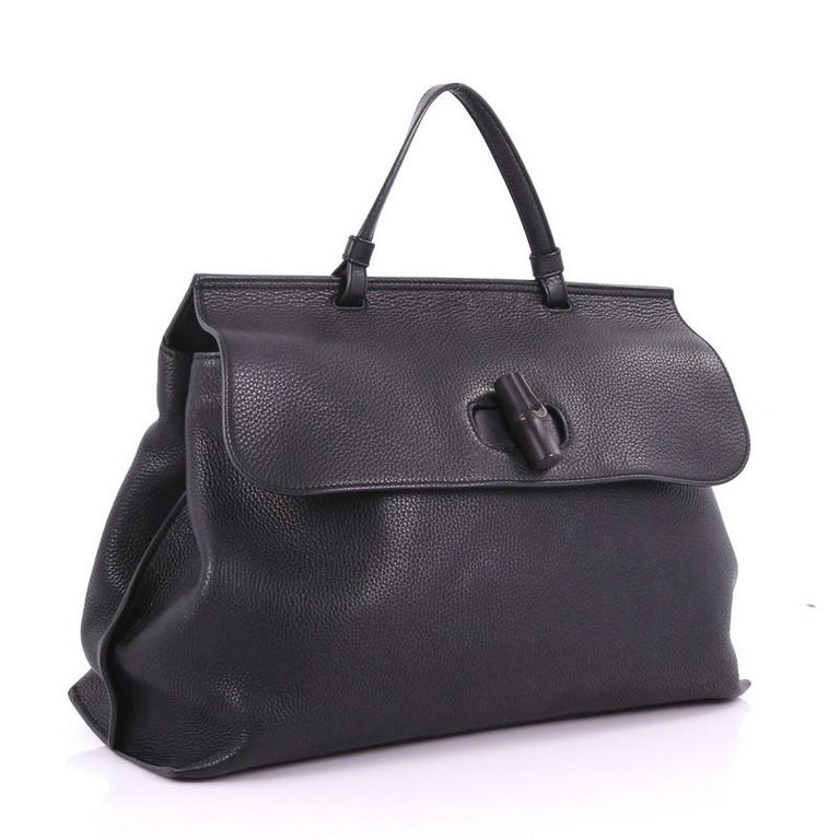 275886c3cd3 Black Gucci Bamboo Daily Top Handle Bag Leather Large For Sale