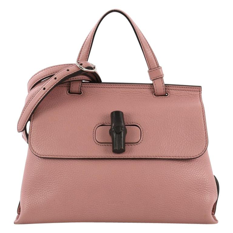 9e2305e34e25 Gucci Bamboo Daily Top Handle Bag Leather Small For Sale at 1stdibs