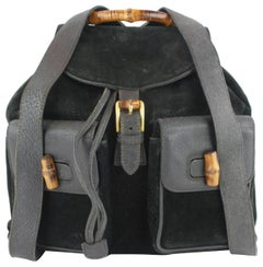 Gucci Bamboo Double Pocket 2gz1129 Black Suede Leather Backpack