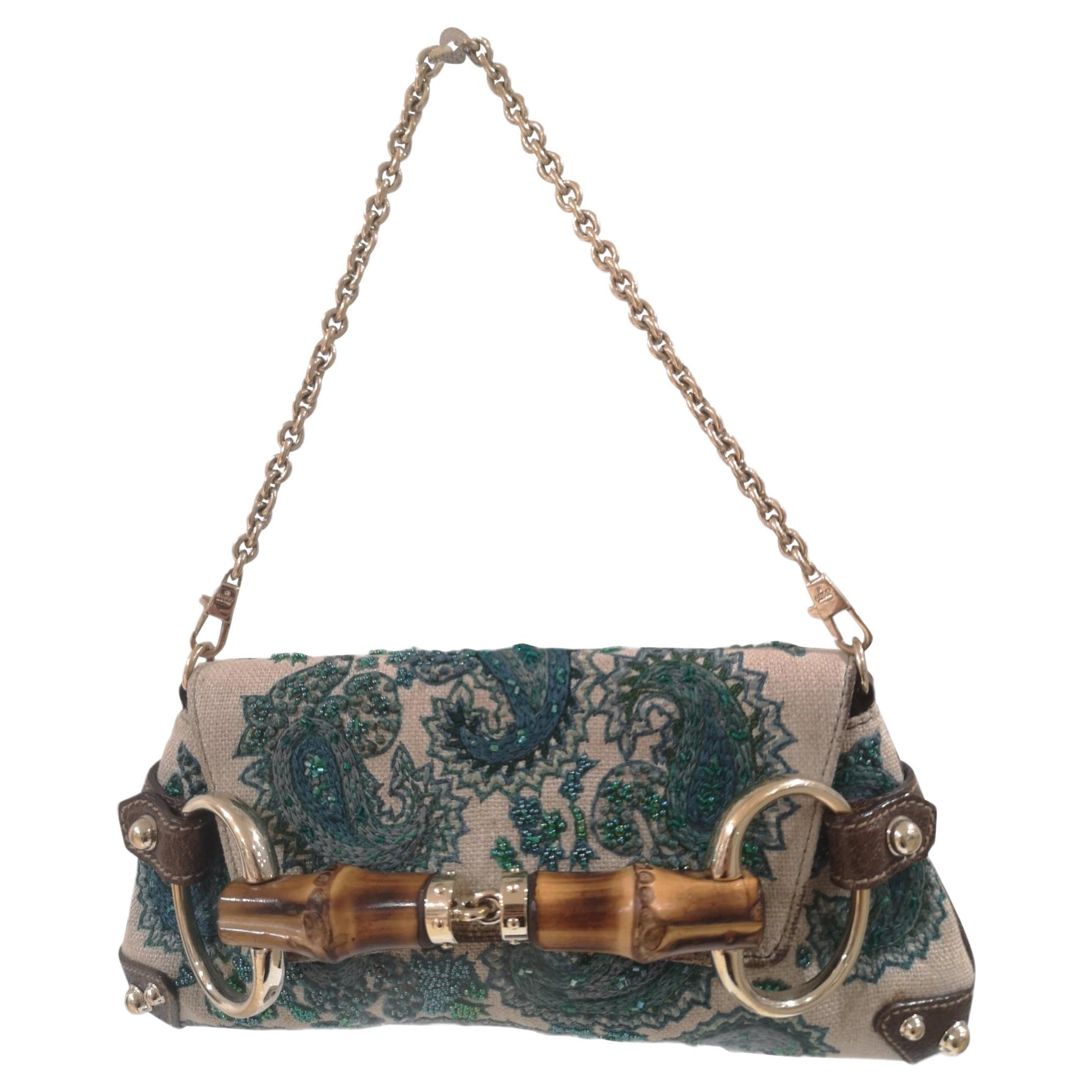 Gucci bamboo handbeaded shoulder handle bag