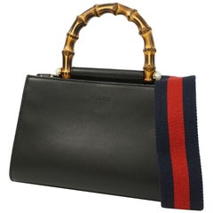GUCCI Bamboo Nymphaea Womens handbag 470271 black x red
