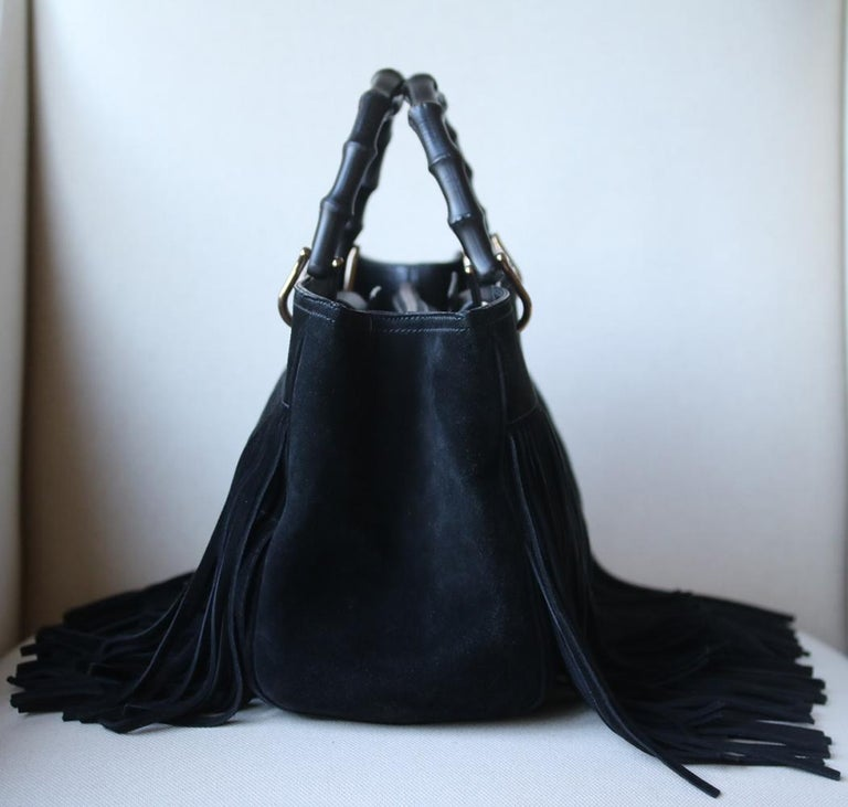 Gucci Bamboo Shopper Medium Fringed Suede Tote Bag For Sale 1