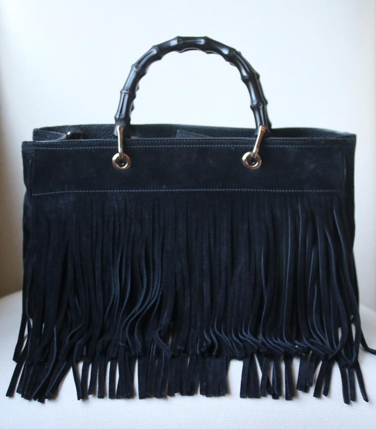 Gucci Bamboo Shopper Medium Fringed Suede Tote Bag For Sale 2