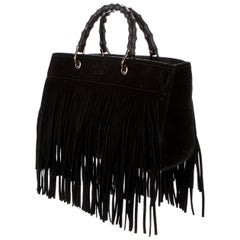 Gucci Bamboo Shopper Medium Fringed Suede Tote Bag