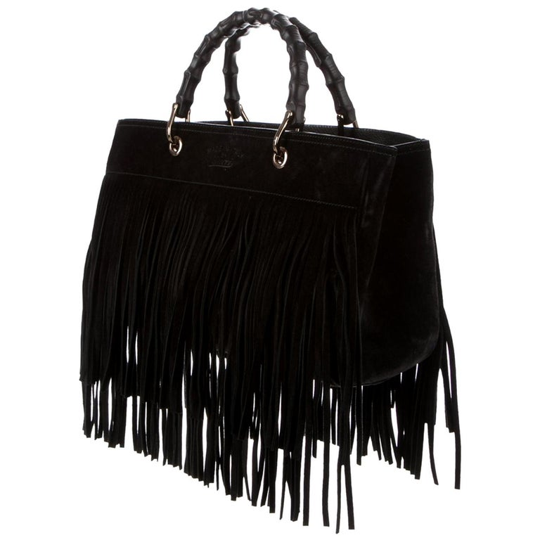 Gucci Bamboo Shopper Medium Fringed Suede Tote Bag For Sale