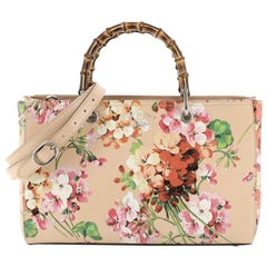 Gucci Bamboo Shopper Tote Blooms Print Leather Medium