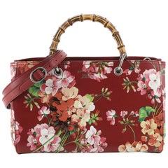 Gucci Bamboo Shopper Tote Blooms Print Leather Medium