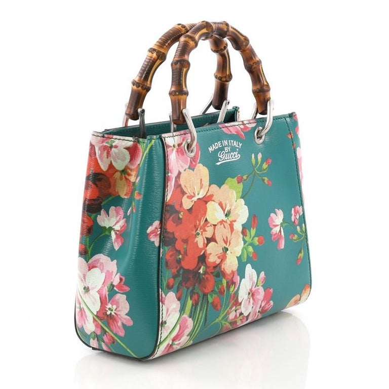 251f500df742 Blue Gucci Bamboo Shopper Tote Blooms Print Leather Mini For Sale