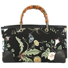 Gucci Bamboo Shopper Tote Flora Canvas Medium