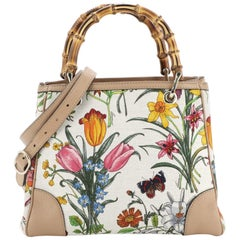 Gucci Bamboo Shopper Tote Flora Canvas Small