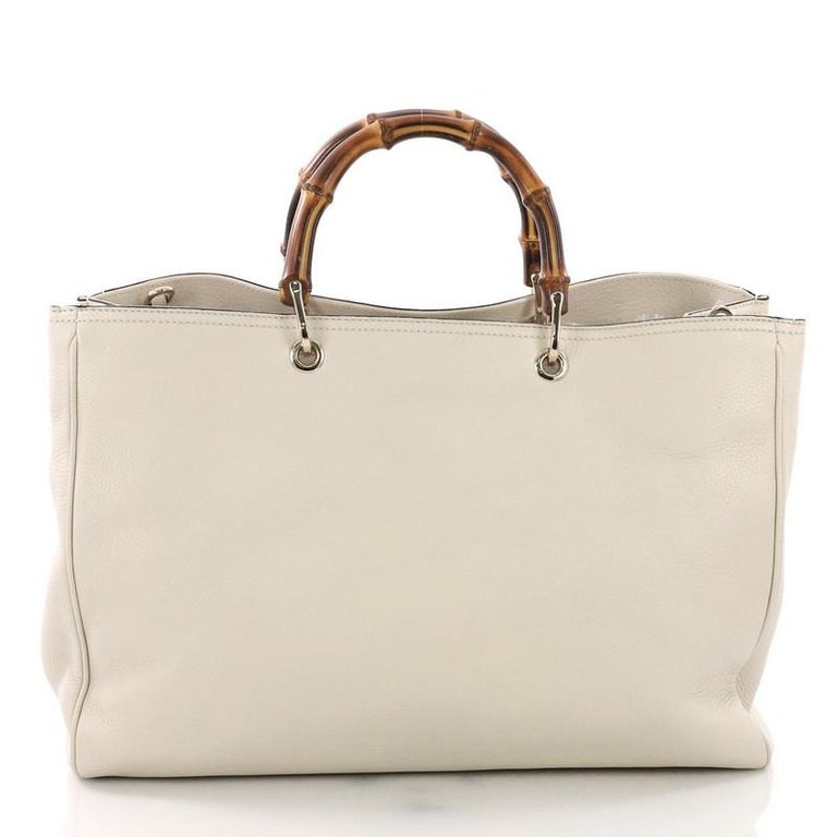 fc3884ac2c8fa9 Gucci Bamboo Shopper Tote Leather Large In Good Condition For Sale In New  York, NY