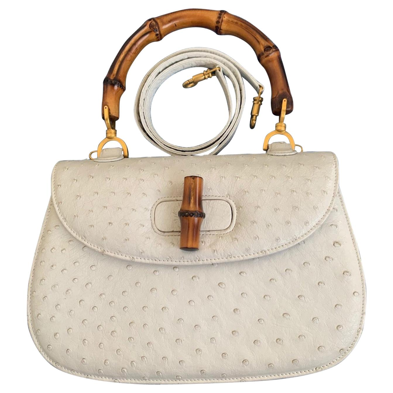 Gucci  Bamboo Top Handle Ostrich Leather Bag