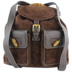 Gucci Bamboo Twin Pocket 13gz1217 Brown Suede Leather Backpack