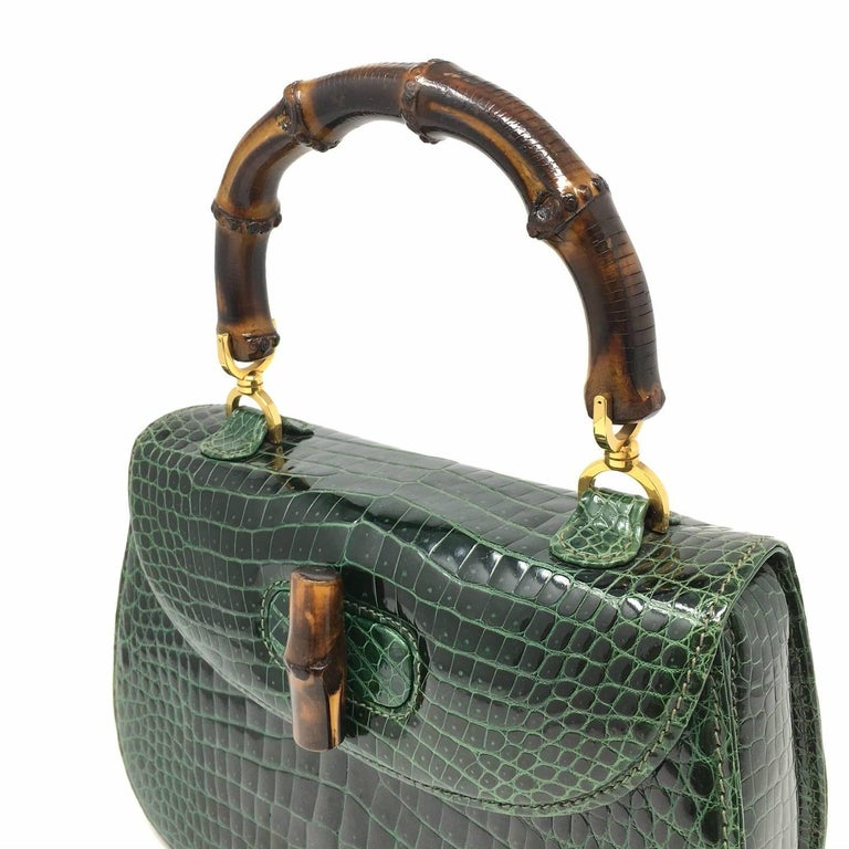 9302c21038c Gucci Vintage Bamboo Green Crocodile Leather Bag at 1stdibs