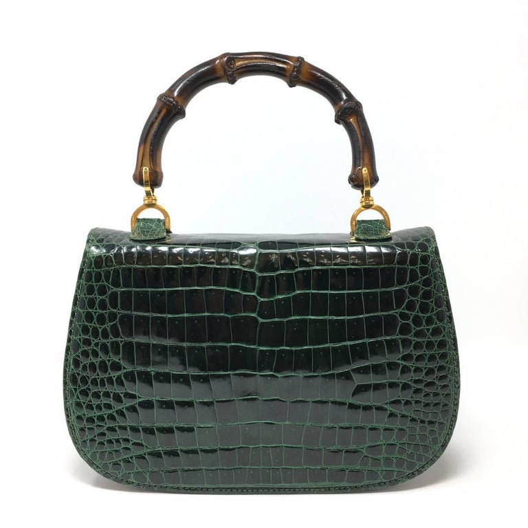 a57de99ddbd Women s or Men s Gucci Vintage Bamboo Green Crocodile Leather Bag For Sale