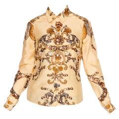 2000S Gucci Silk Baroque Seashell Status Print Shirt Sz 40