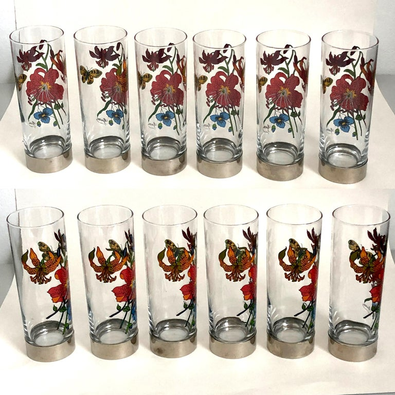Women's or Men's Gucci Barware Set 7pc Decanter & Highball Glasses Flora by Accornero Vintage  For Sale