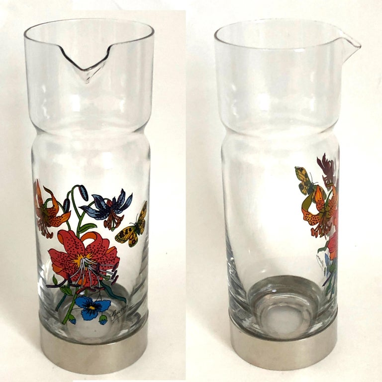 Gucci Barware Set 7pc Decanter & Highball Glasses Flora by Accornero Vintage  For Sale 4