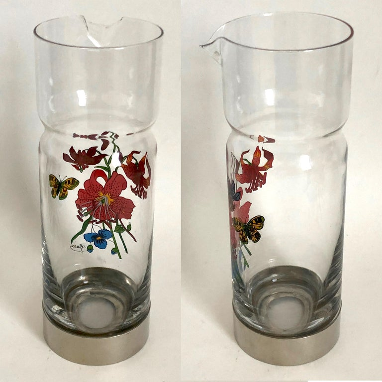 Gucci Barware Set 7pc Decanter & Highball Glasses Flora by Accornero Vintage  For Sale 5