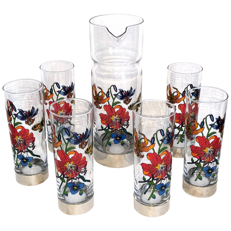 Gucci Barware Set 7pc Decanter & Highball Glasses Flora by Accornero Vintage  For Sale