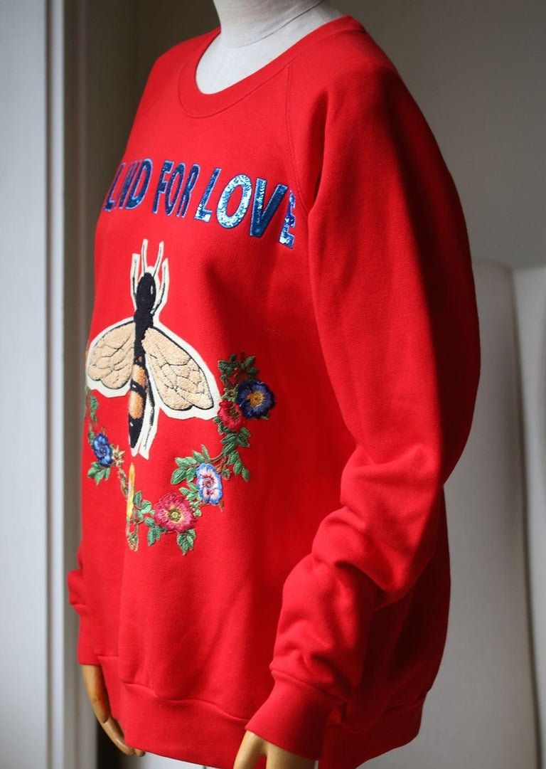 Red Gucci Bee and Floral-Appliqué Cotton Sweatshirt For Sale