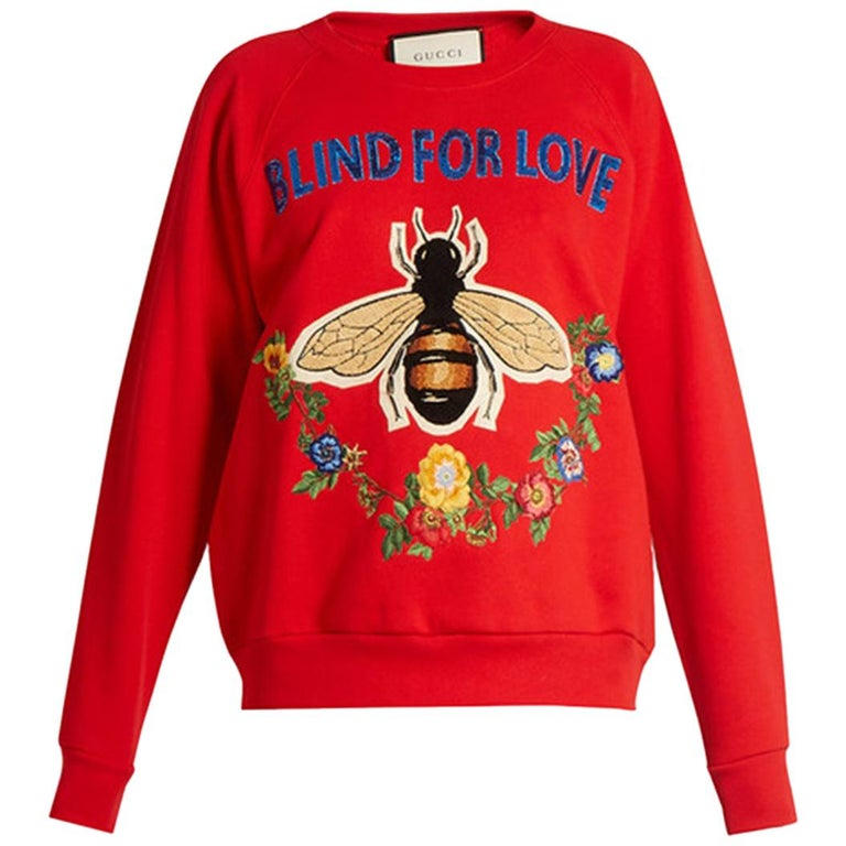 Gucci Bee and Floral-Appliqué Cotton Sweatshirt For Sale