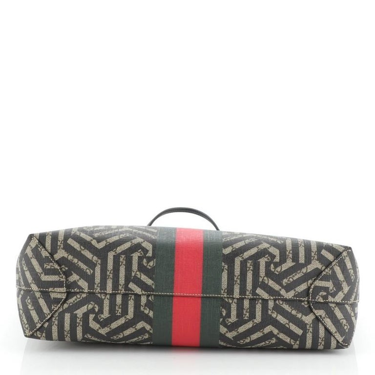 Women's or Men's Gucci Bee Web Shopping Tote Caleido Print GG Coated Canvas Medium For Sale