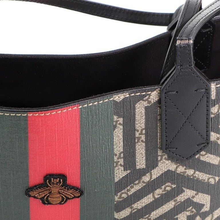 Gucci Bee Web Shopping Tote Caleido Print GG Coated Canvas Medium For Sale 3