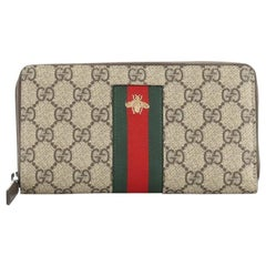Gucci Bee Web Zip Around Wallet GG Coated Canvas